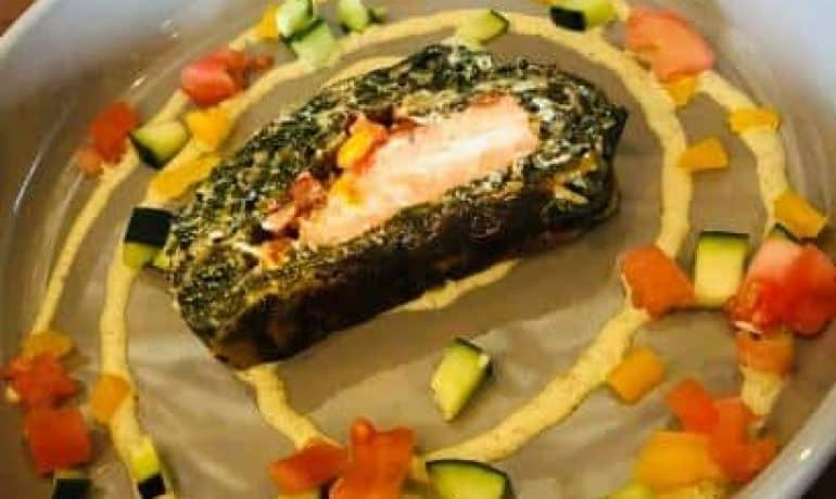 Burnt Offerings Las Vegas – Salmon Spinach Roll with Dill Sauce